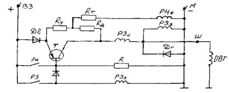 Схема контактно-транзисторного регулятора напряжения